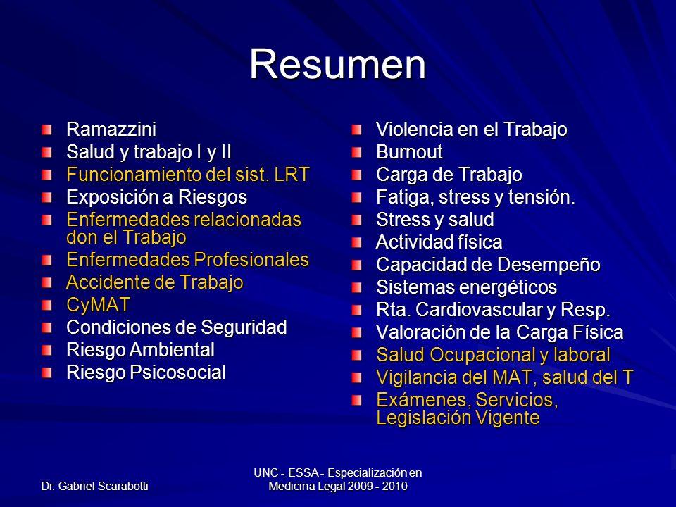 Dr. Gabriel Scarabotti UNC - ESSA - Especialización en Medicina Legal 2009 - 2010 Resumen Ramazzini Salud y trabajo I y II Funcionamiento del sist. LR