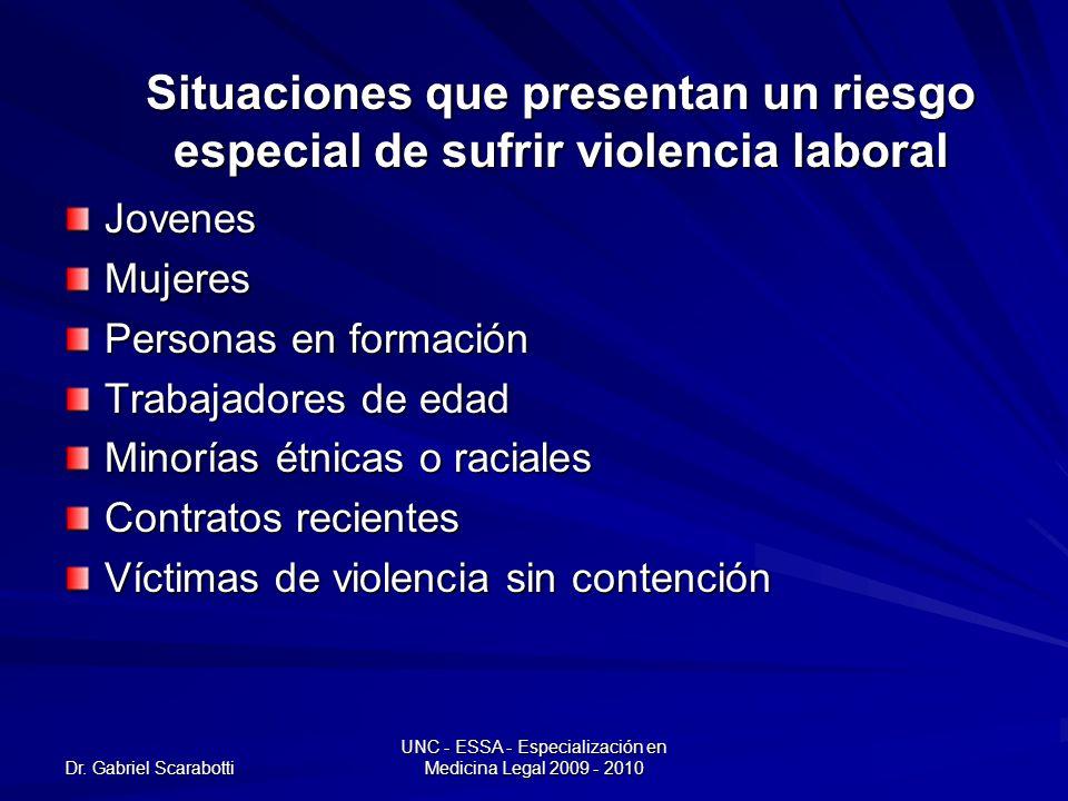 Dr. Gabriel Scarabotti UNC - ESSA - Especialización en Medicina Legal 2009 - 2010 Situaciones que presentan un riesgo especial de sufrir violencia lab