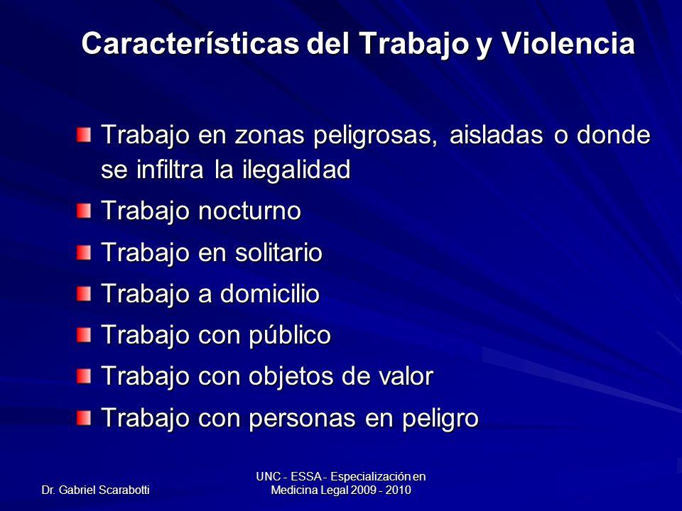 Dr. Gabriel Scarabotti UNC - ESSA - Especialización en Medicina Legal 2009 - 2010 Características del Trabajo y Violencia Trabajo en zonas peligrosas,