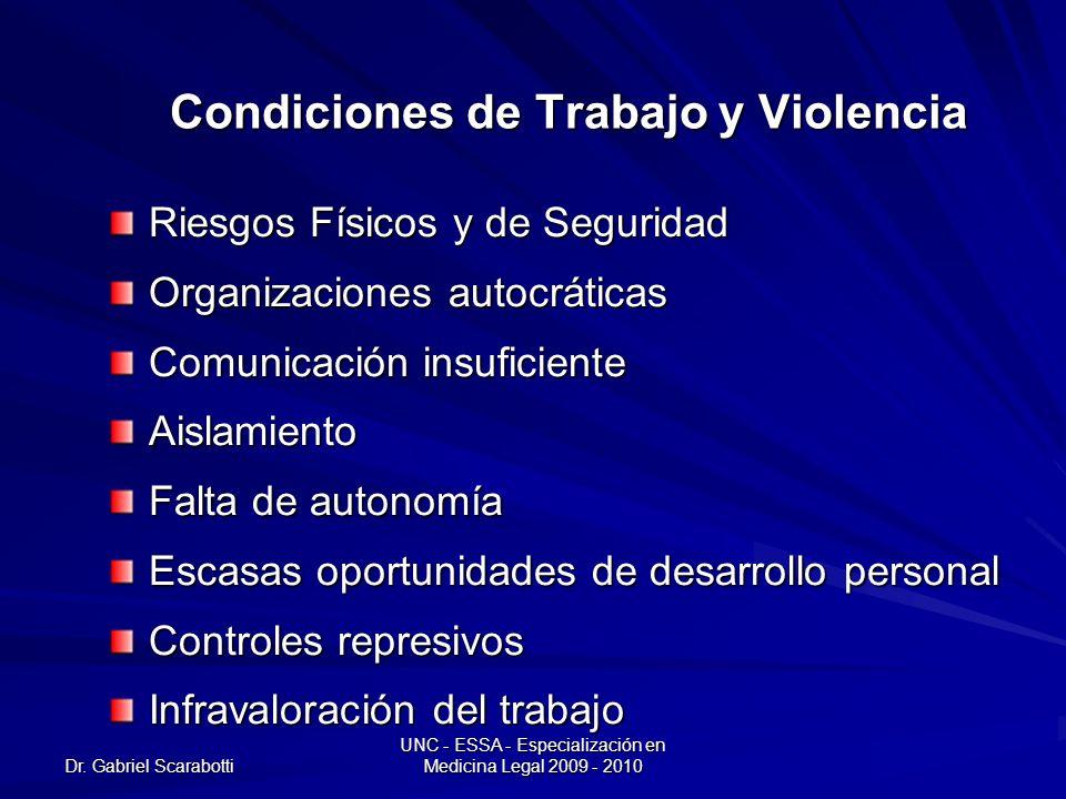 Dr. Gabriel Scarabotti UNC - ESSA - Especialización en Medicina Legal 2009 - 2010 Condiciones de Trabajo y Violencia Riesgos Físicos y de Seguridad Or