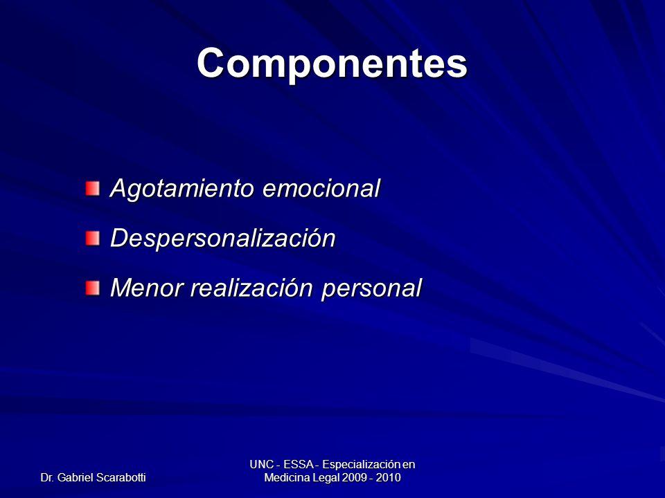 Dr. Gabriel Scarabotti UNC - ESSA - Especialización en Medicina Legal 2009 - 2010 Componentes Agotamiento emocional Despersonalización Menor realizaci