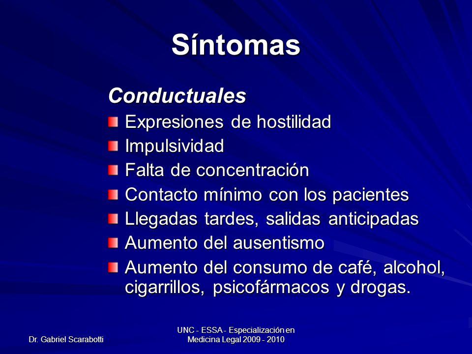 Dr. Gabriel Scarabotti UNC - ESSA - Especialización en Medicina Legal 2009 - 2010 Síntomas Conductuales Expresiones de hostilidad Impulsividad Falta d