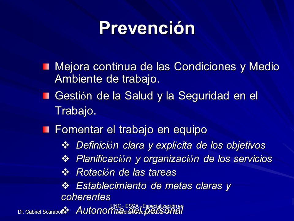 Dr. Gabriel Scarabotti UNC - ESSA - Especialización en Medicina Legal 2009 - 2010 Prevención Mejora cont í nua de las Condiciones y Medio Ambiente de