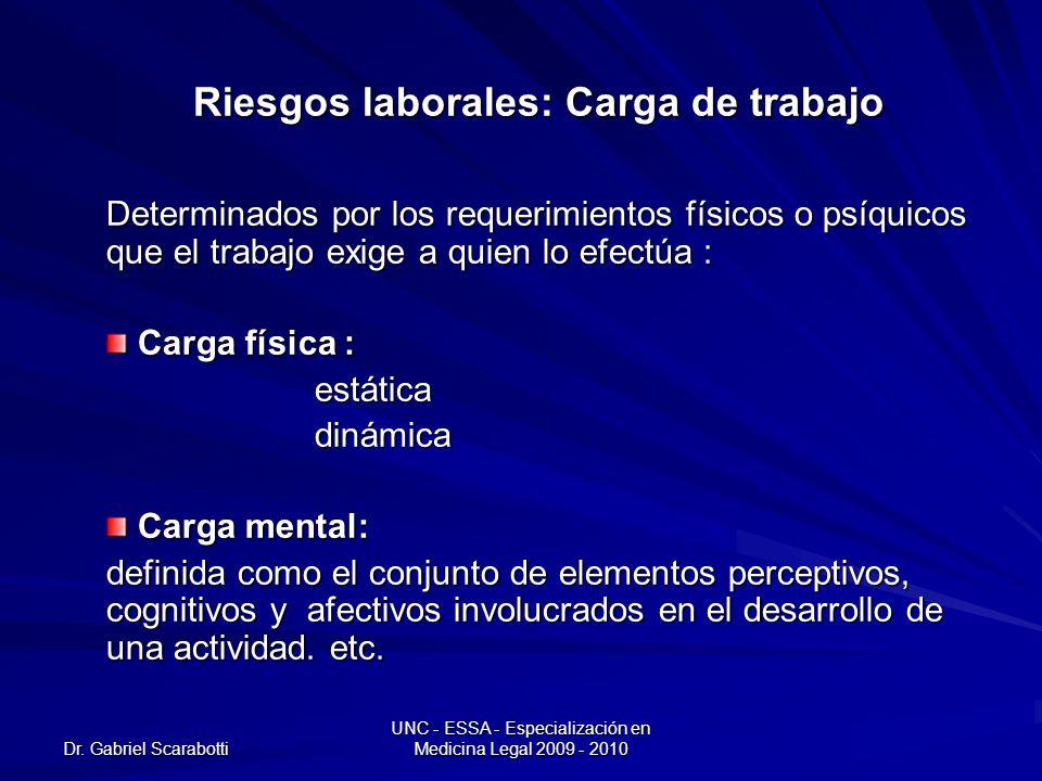 Dr. Gabriel Scarabotti UNC - ESSA - Especialización en Medicina Legal 2009 - 2010 Riesgos laborales: Carga de trabajo Determinados por los requerimien