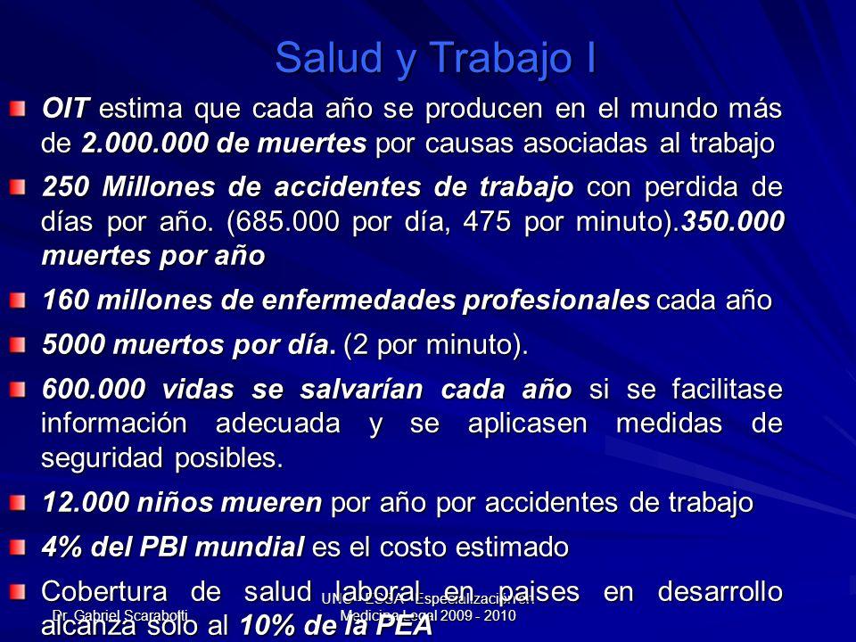Dr. Gabriel Scarabotti UNC - ESSA - Especialización en Medicina Legal 2009 - 2010 Salud y Trabajo I OIT estima que cada año se producen en el mundo má