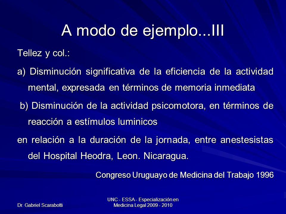 Dr. Gabriel Scarabotti UNC - ESSA - Especialización en Medicina Legal 2009 - 2010 A modo de ejemplo...III Tellez y col.: a) Disminución significativa