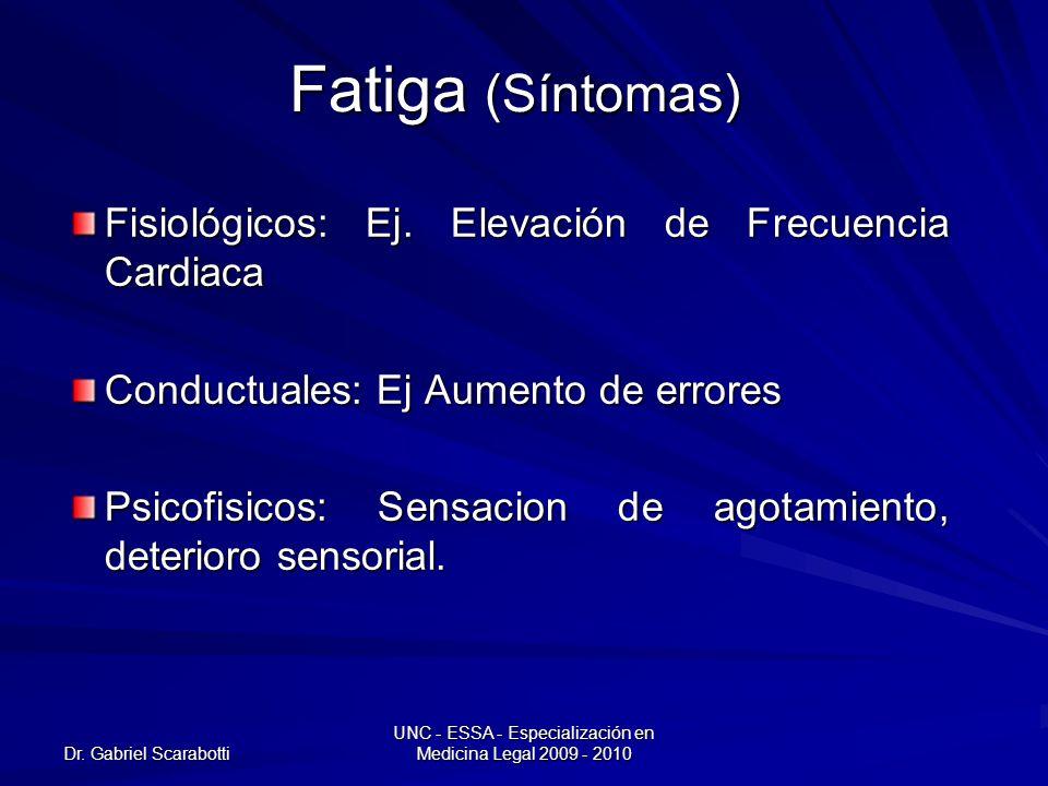 Dr. Gabriel Scarabotti UNC - ESSA - Especialización en Medicina Legal 2009 - 2010 Fatiga (Síntomas) Fisiológicos: Ej. Elevación de Frecuencia Cardiaca