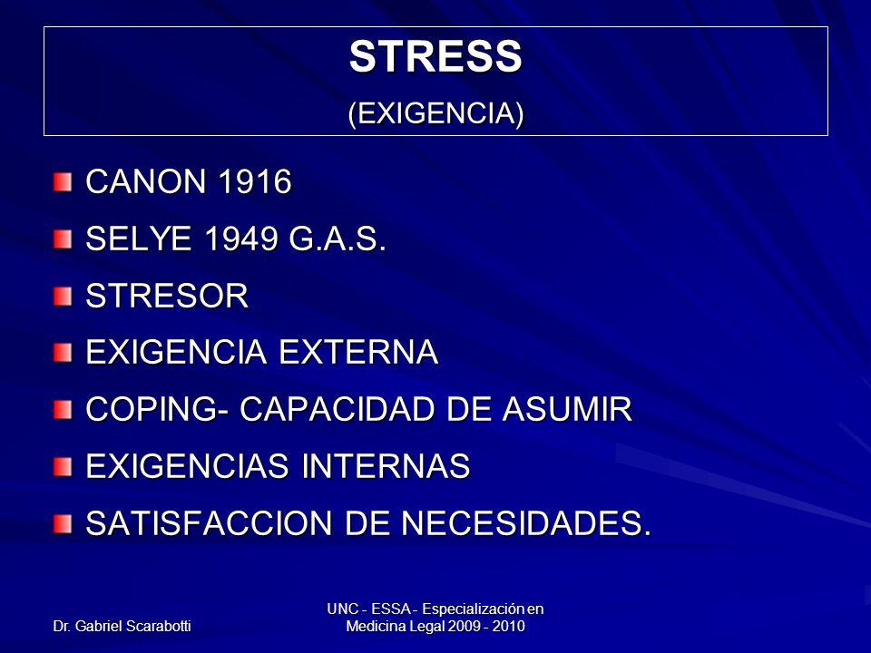 Dr. Gabriel Scarabotti UNC - ESSA - Especialización en Medicina Legal 2009 - 2010 STRESS (EXIGENCIA) CANON 1916 SELYE 1949 G.A.S. STRESOR EXIGENCIA EX