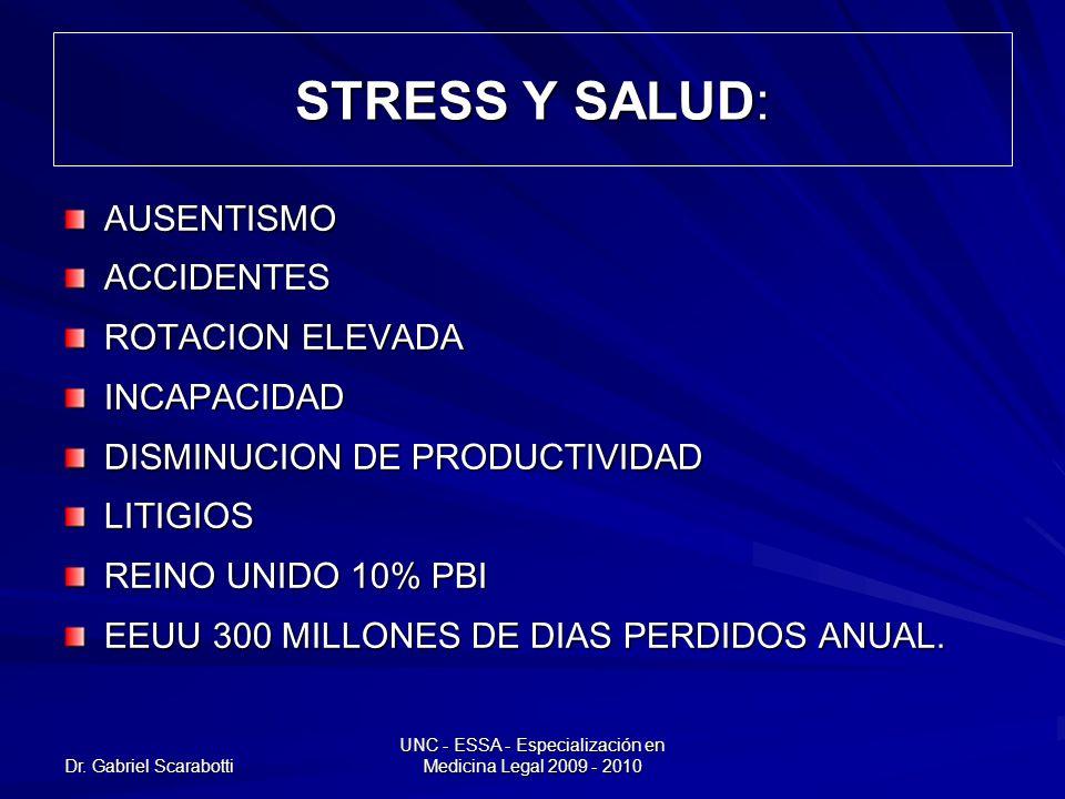Dr. Gabriel Scarabotti UNC - ESSA - Especialización en Medicina Legal 2009 - 2010 STRESS Y SALUD: AUSENTISMOACCIDENTES ROTACION ELEVADA INCAPACIDAD DI
