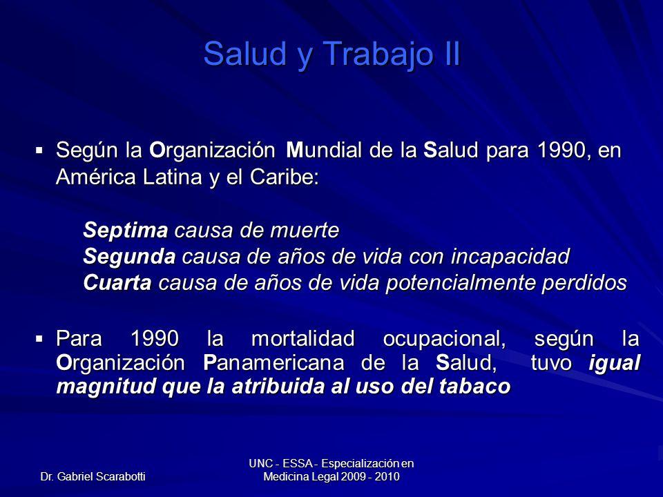 Dr. Gabriel Scarabotti UNC - ESSA - Especialización en Medicina Legal 2009 - 2010 Salud y Trabajo II Según la Organización Mundial de la Salud para 19