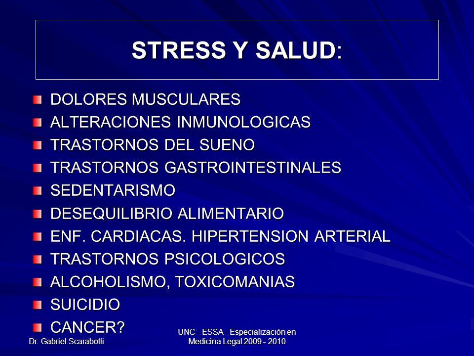Dr. Gabriel Scarabotti UNC - ESSA - Especialización en Medicina Legal 2009 - 2010 STRESS Y SALUD: DOLORES MUSCULARES ALTERACIONES INMUNOLOGICAS TRASTO