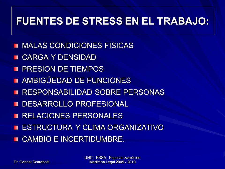 Dr. Gabriel Scarabotti UNC - ESSA - Especialización en Medicina Legal 2009 - 2010 FUENTES DE STRESS EN EL TRABAJO: MALAS CONDICIONES FISICAS CARGA Y D