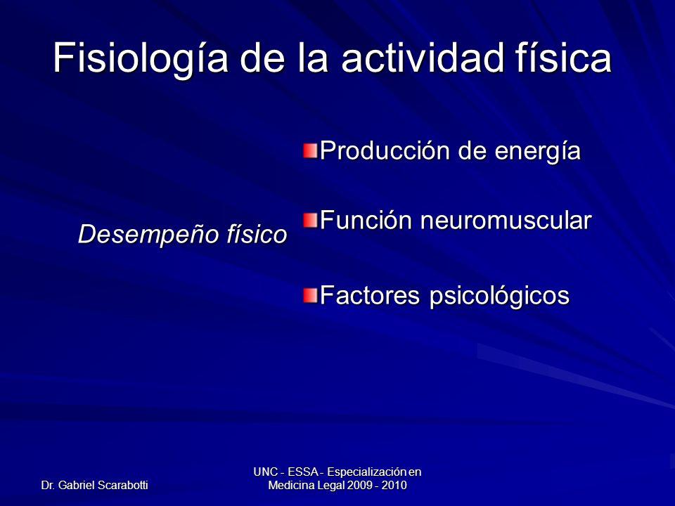 Dr. Gabriel Scarabotti UNC - ESSA - Especialización en Medicina Legal 2009 - 2010 Fisiología de la actividad física Desempeño físico Producción de ene