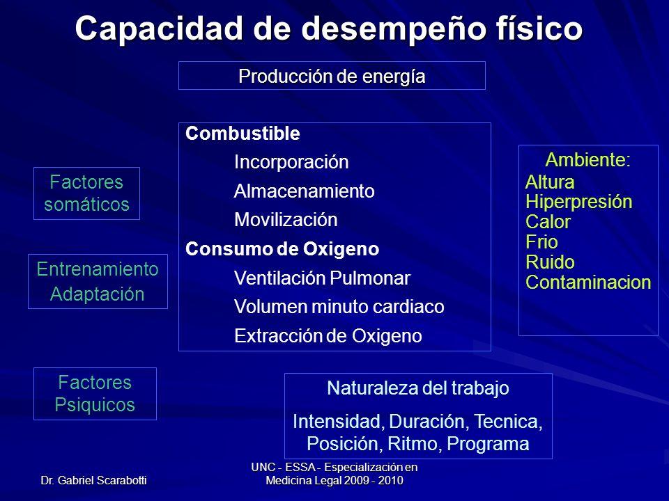 Dr. Gabriel Scarabotti UNC - ESSA - Especialización en Medicina Legal 2009 - 2010 Capacidad de desempeño físico Producción de energía Combustible Inco