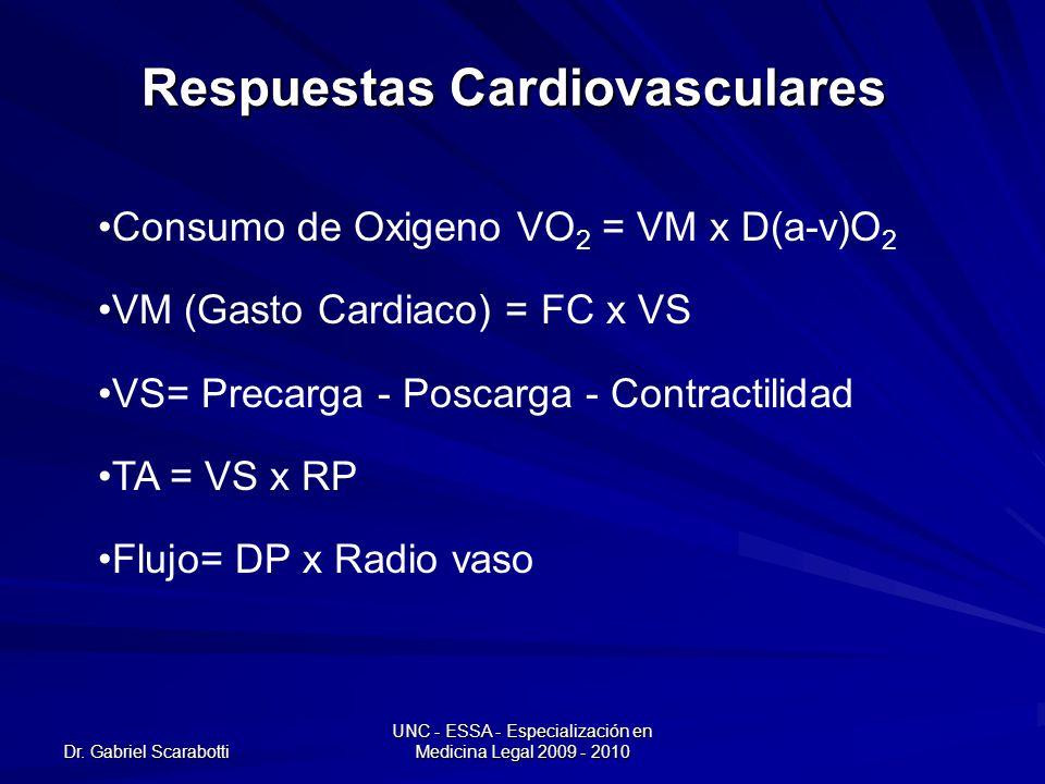 Dr. Gabriel Scarabotti UNC - ESSA - Especialización en Medicina Legal 2009 - 2010 Respuestas Cardiovasculares Consumo de Oxigeno VO 2 = VM x D(a-v)O 2