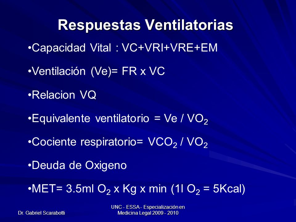 Dr. Gabriel Scarabotti UNC - ESSA - Especialización en Medicina Legal 2009 - 2010 Respuestas Ventilatorias Capacidad Vital : VC+VRI+VRE+EM Ventilación