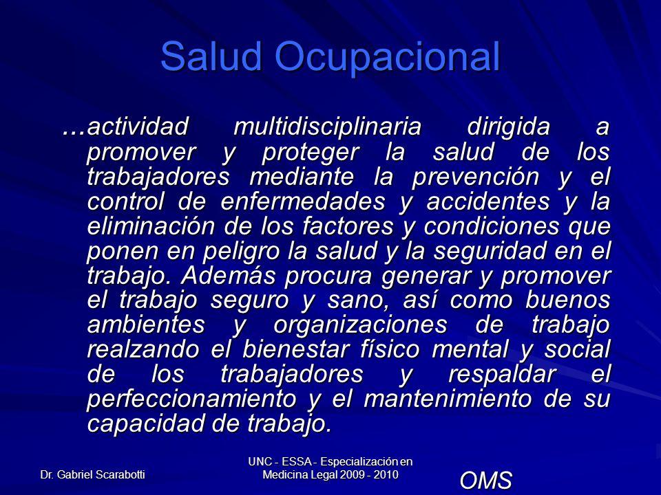 Dr. Gabriel Scarabotti UNC - ESSA - Especialización en Medicina Legal 2009 - 2010 Salud Ocupacional... actividad multidisciplinaria dirigida a promove