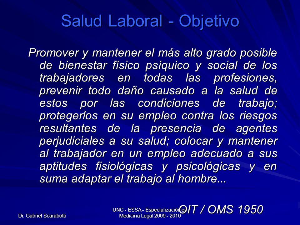 Dr. Gabriel Scarabotti UNC - ESSA - Especialización en Medicina Legal 2009 - 2010 Salud Laboral - Objetivo Promover y mantener el más alto grado posib