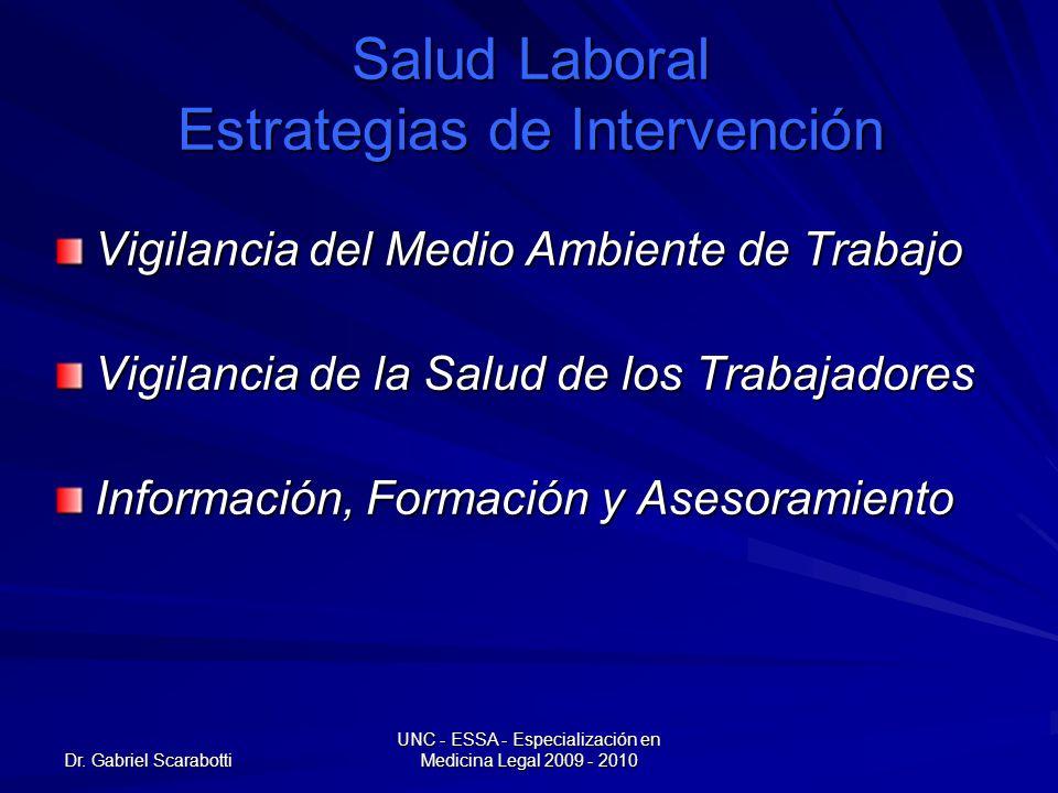 Dr. Gabriel Scarabotti UNC - ESSA - Especialización en Medicina Legal 2009 - 2010 Salud Laboral Estrategias de Intervención Vigilancia del Medio Ambie