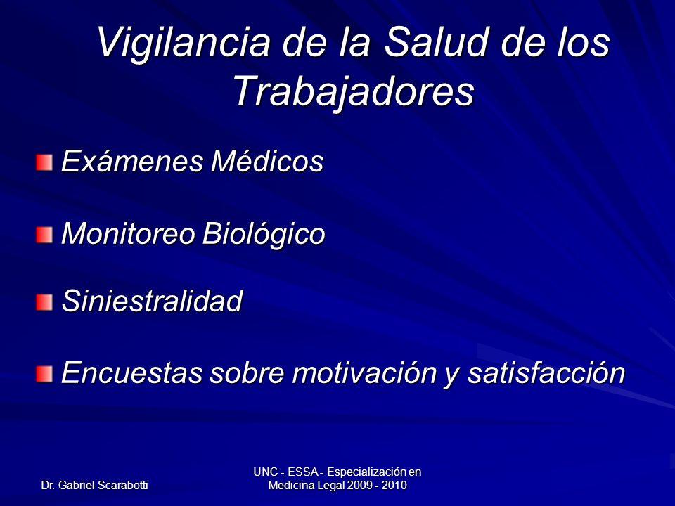 Dr. Gabriel Scarabotti UNC - ESSA - Especialización en Medicina Legal 2009 - 2010 Vigilancia de la Salud de los Trabajadores Exámenes Médicos Monitore