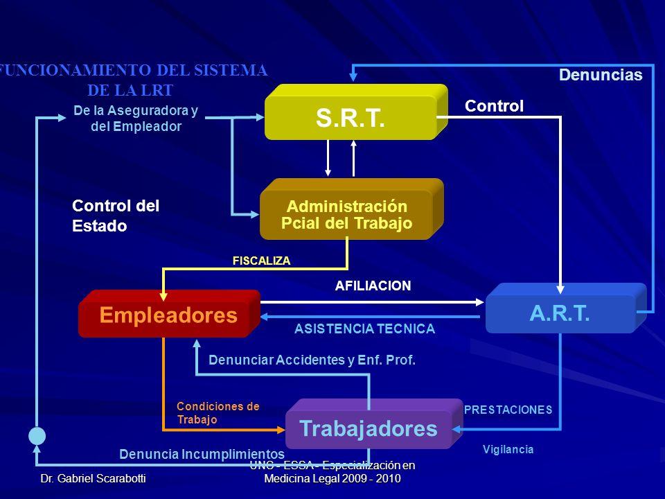 Dr. Gabriel Scarabotti UNC - ESSA - Especialización en Medicina Legal 2009 - 2010 Control del Estado Condiciones de Trabajo AFILIACION ASISTENCIA TECN