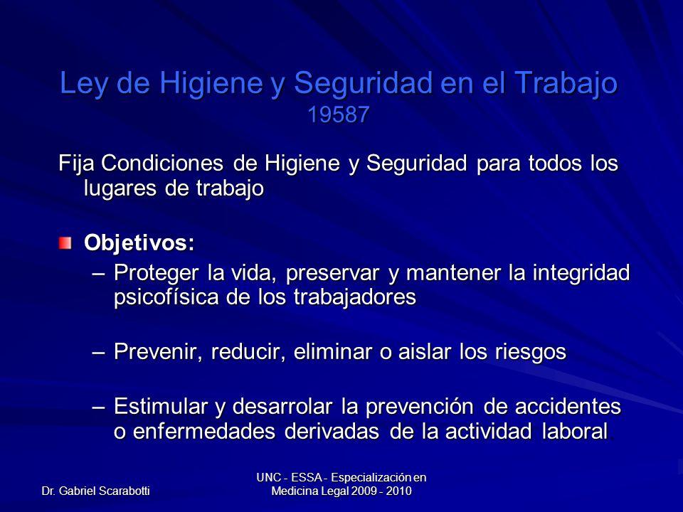 Dr. Gabriel Scarabotti UNC - ESSA - Especialización en Medicina Legal 2009 - 2010 Ley de Higiene y Seguridad en el Trabajo 19587 Fija Condiciones de H
