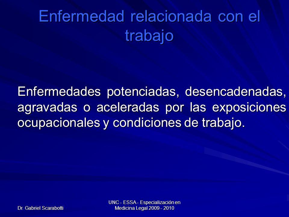 Dr. Gabriel Scarabotti UNC - ESSA - Especialización en Medicina Legal 2009 - 2010 Enfermedad relacionada con el trabajo Enfermedades potenciadas, dese