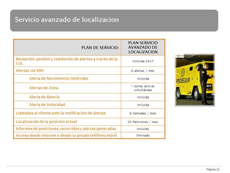 Servicio avanzado de localizacion PLAN DE SERVICIO: PLAN SERVICIO AVANZADO DE LOCALIZACION Recepción, gestión y resolución de alertas a través de la C