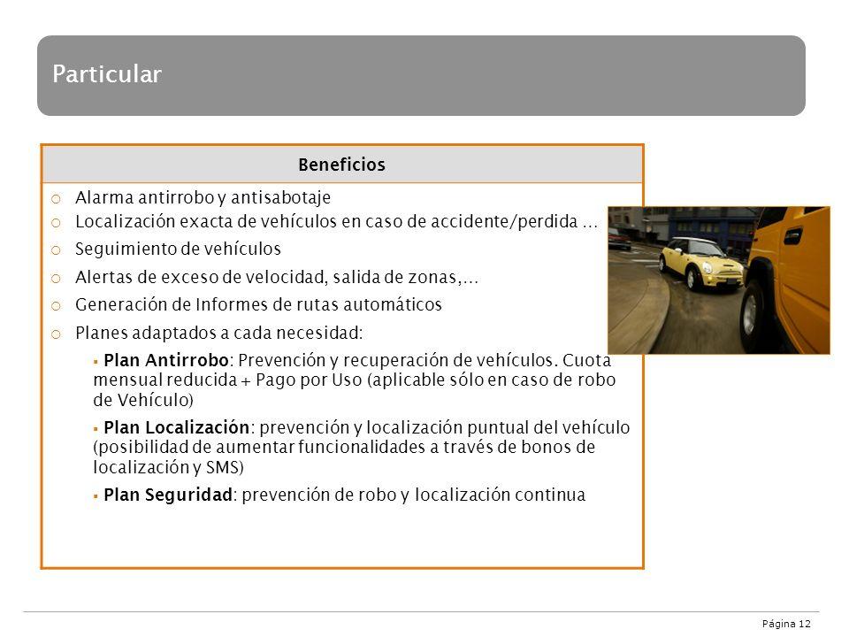 Página 12 Particular Beneficios Alarma antirrobo y antisabotaje Localización exacta de vehículos en caso de accidente/perdida … Seguimiento de vehícul