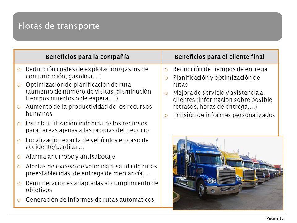 Página 13 Flotas de transporte Beneficios para la compañíaBeneficios para el cliente final Reducción costes de explotación (gastos de comunicación, ga