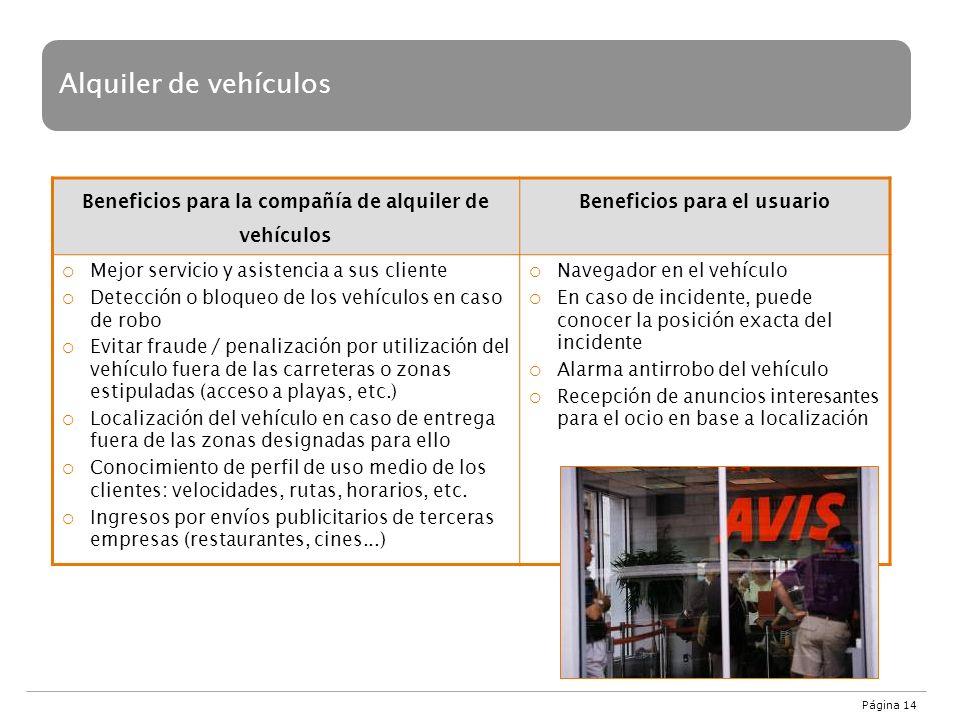 Página 14 Alquiler de vehículos Beneficios para la compañía de alquiler de vehículos Beneficios para el usuario Mejor servicio y asistencia a sus clie