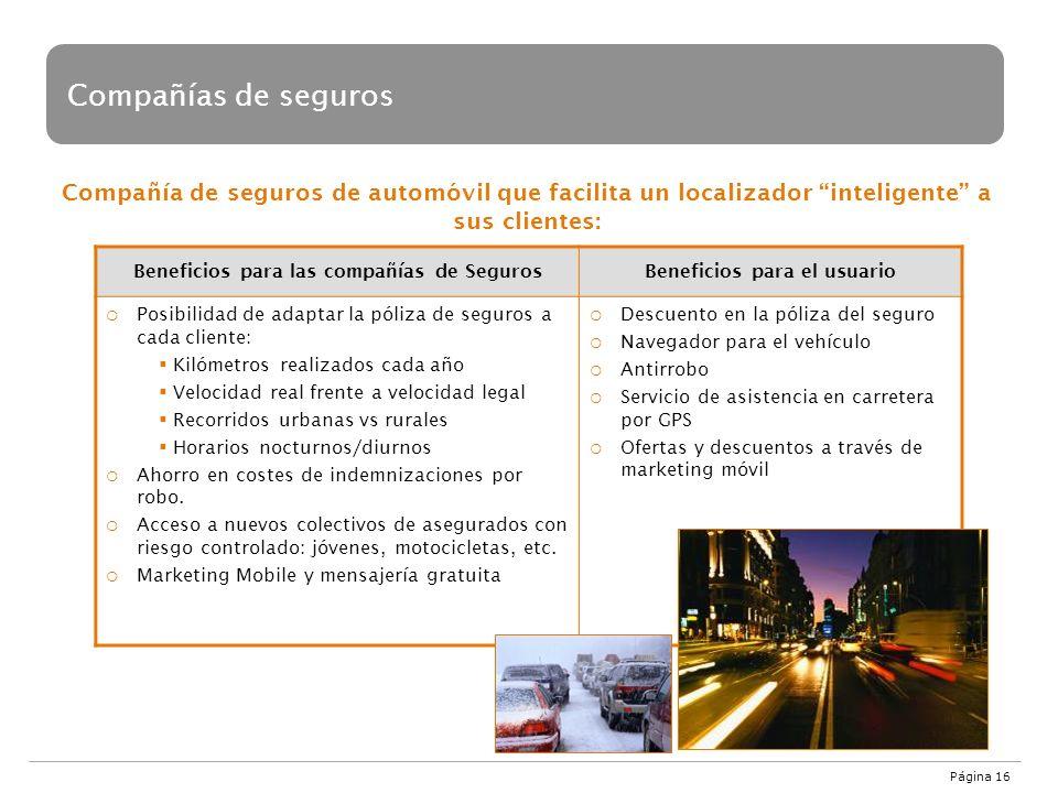 Página 16 Compañía de seguros de automóvil que facilita un localizador inteligente a sus clientes: Compañías de seguros Beneficios para las compañías