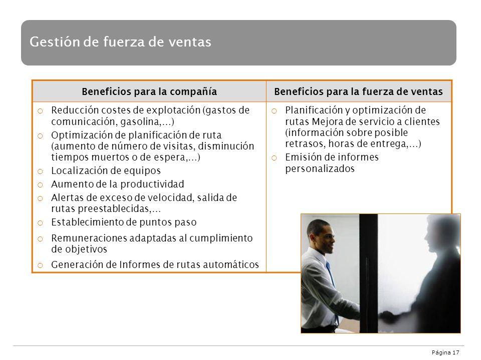 Página 17 Gestión de fuerza de ventas Beneficios para la compañíaBeneficios para la fuerza de ventas Reducción costes de explotación (gastos de comuni