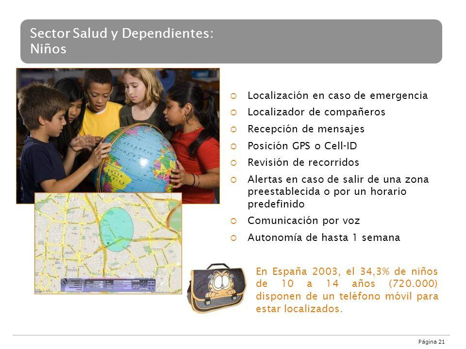 Página 21 Sector Salud y Dependientes: Niños Localización en caso de emergencia Localizador de compañeros Recepción de mensajes Posición GPS o Cell-ID