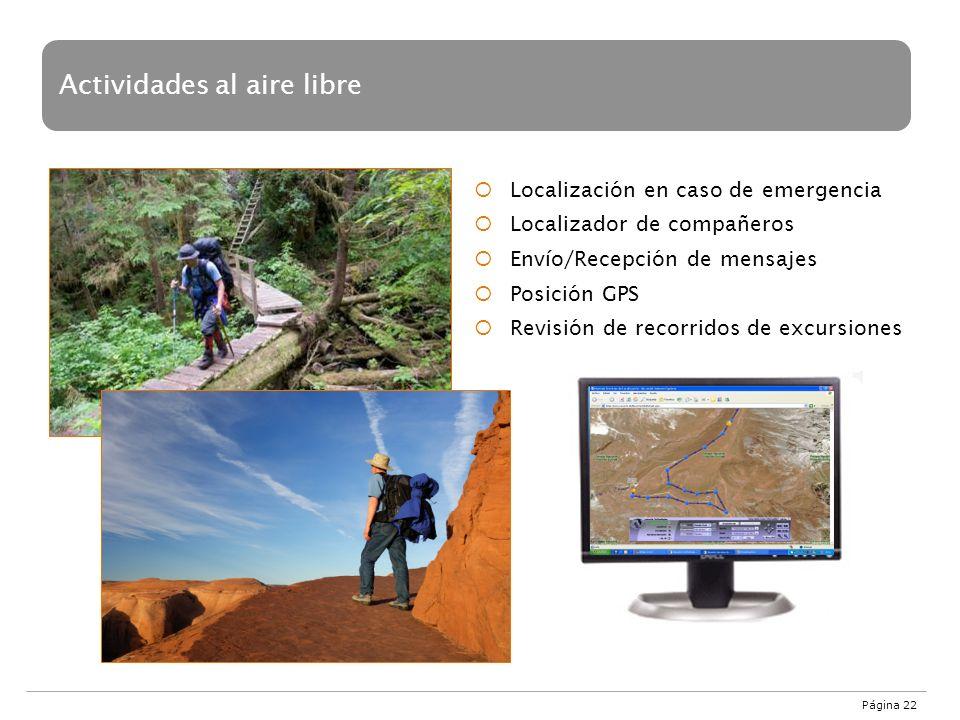 Página 22 Localización en caso de emergencia Localizador de compañeros Envío/Recepción de mensajes Posición GPS Revisión de recorridos de excursiones