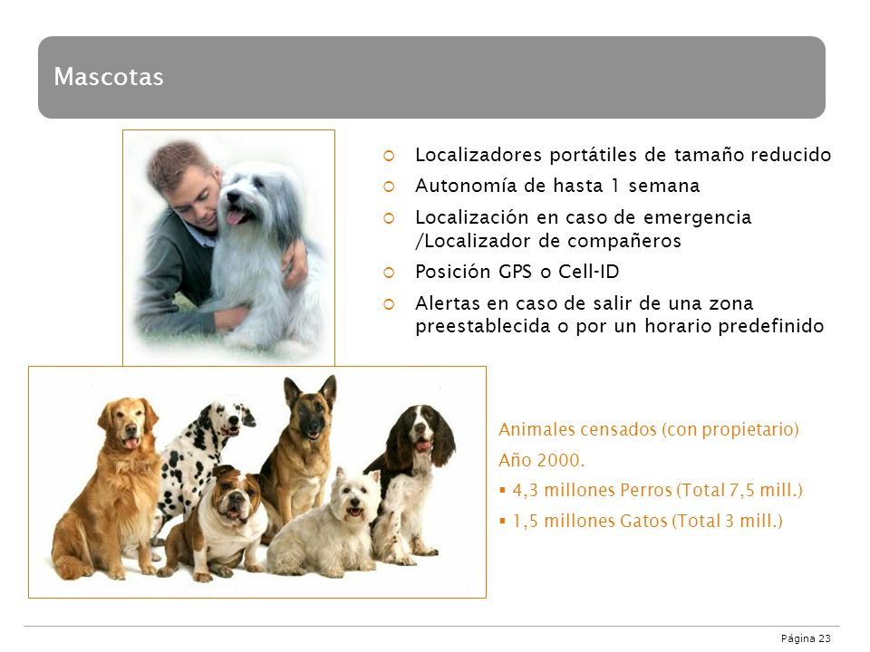 Página 23 Mascotas Localizadores portátiles de tamaño reducido Autonomía de hasta 1 semana Localización en caso de emergencia /Localizador de compañer