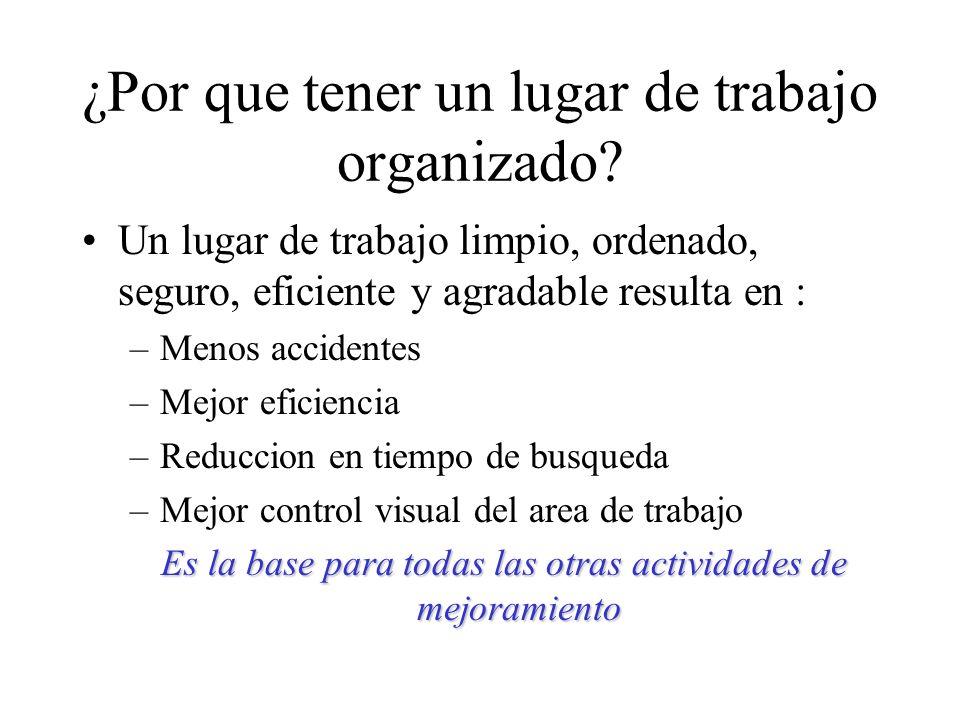 ¿Por que tener un lugar de trabajo organizado? Un lugar de trabajo limpio, ordenado, seguro, eficiente y agradable resulta en : –Menos accidentes –Mej