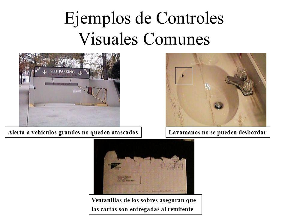 Ejemplos de Controles Visuales Comunes Alerta a vehiculos grandes no queden atascadosLavamanos no se pueden desbordar Ventanillas de los sobres asegur