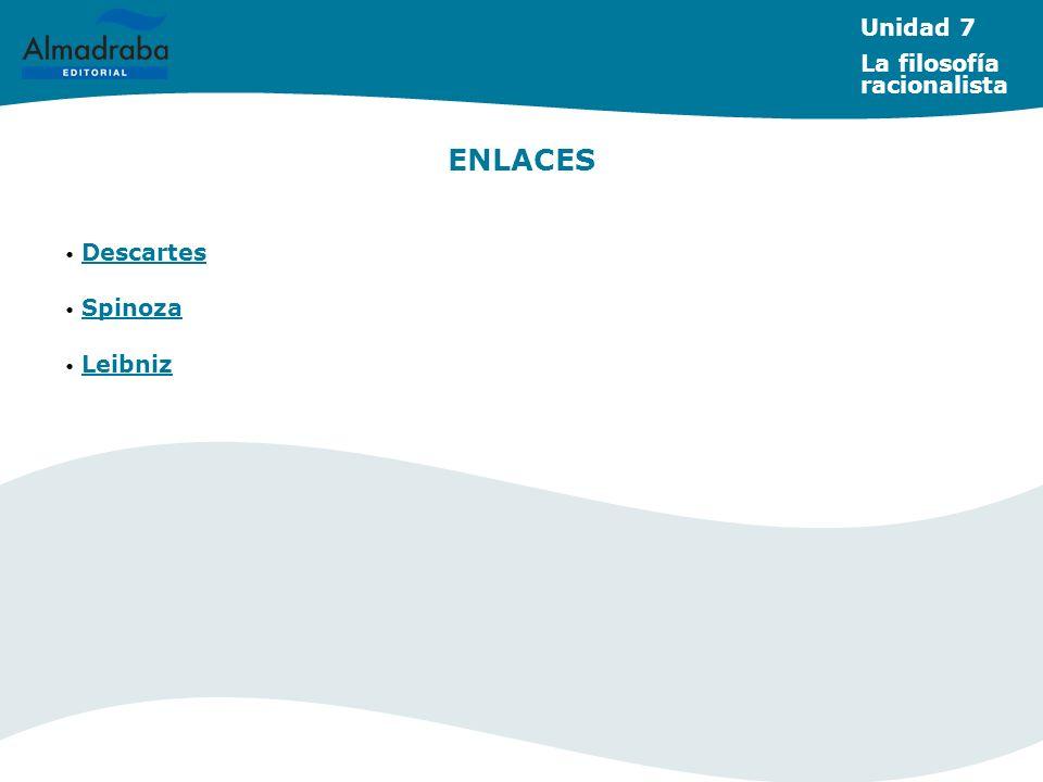 ENLACES Descartes Spinoza Leibniz Unidad 7 La filosofía racionalista