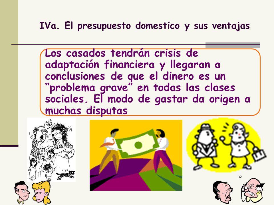 IVa. El presupuesto domestico y sus ventajas Los casados tendrán crisis de adaptación financiera y llegaran a conclusiones de que el dinero es un prob
