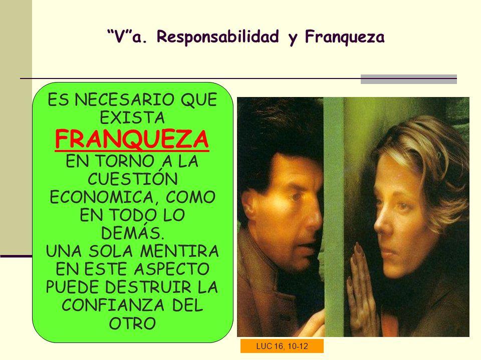 Va. Responsabilidad y Franqueza ES NECESARIO QUE EXISTA FRANQUEZA EN TORNO A LA CUESTIÓN ECONOMICA, COMO EN TODO LO DEMÁS. UNA SOLA MENTIRA EN ESTE AS