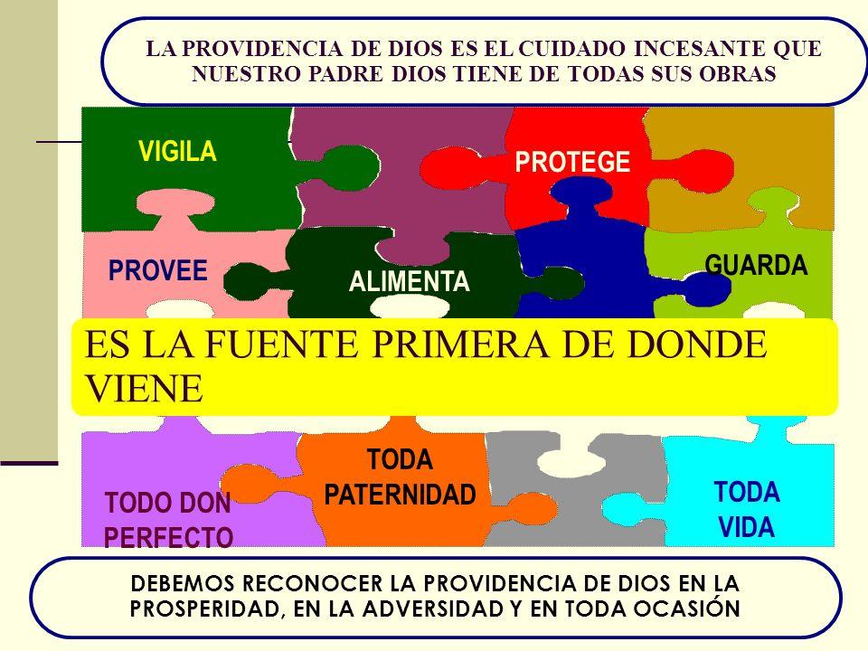 LA PROVIDENCIA DE DIOS ES EL CUIDADO INCESANTE QUE NUESTRO PADRE DIOS TIENE DE TODAS SUS OBRAS VIGILA ALIMENTA GUARDA PROVEE TODO DON PERFECTO PROTEGE TODA VIDA TODA PATERNIDAD ES LA FUENTE PRIMERA DE DONDE VIENE DEBEMOS RECONOCER LA PROVIDENCIA DE DIOS EN LA PROSPERIDAD, EN LA ADVERSIDAD Y EN TODA OCASIÓN