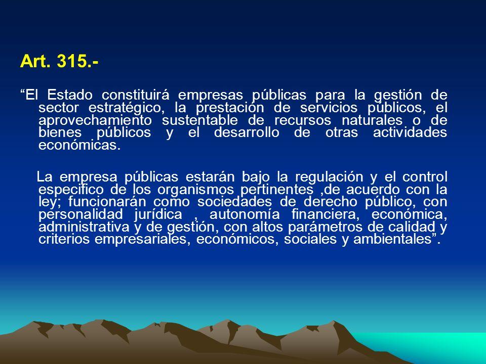 Art. 315.- El Estado constituirá empresas públicas para la gestión de sector estratégico, la prestación de servicios públicos, el aprovechamiento sust