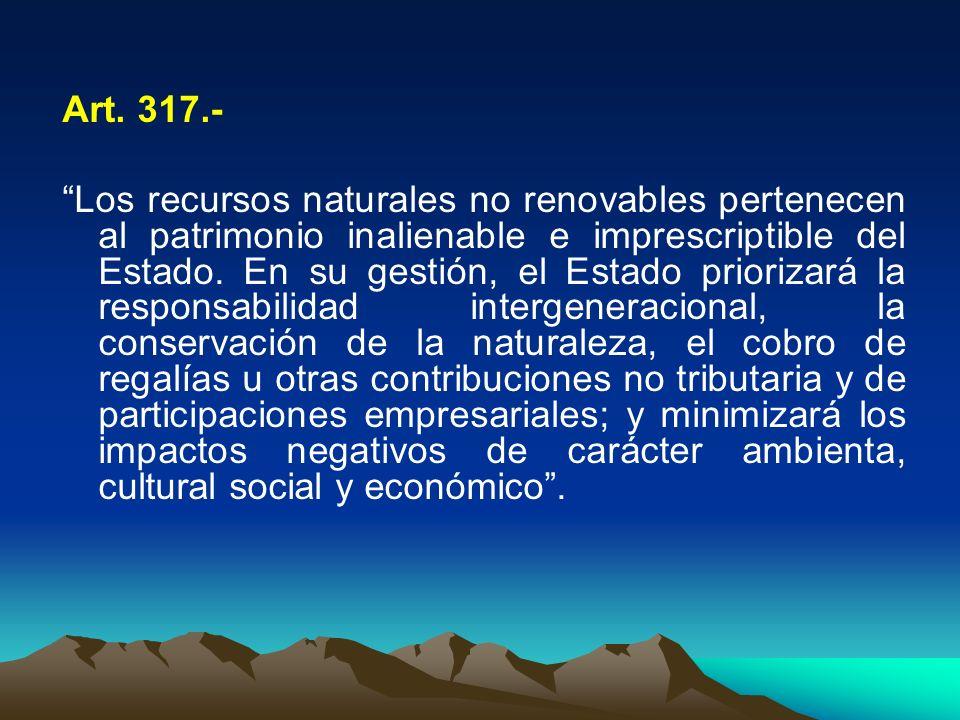 Art. 317.- Los recursos naturales no renovables pertenecen al patrimonio inalienable e imprescriptible del Estado. En su gestión, el Estado priorizará