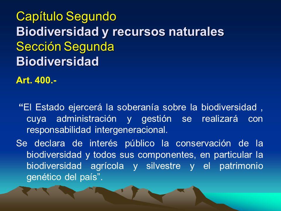 Capítulo Segundo Biodiversidad y recursos naturales Sección Segunda Biodiversidad Art. 400.- El Estado ejercerá la soberanía sobre la biodiversidad, c