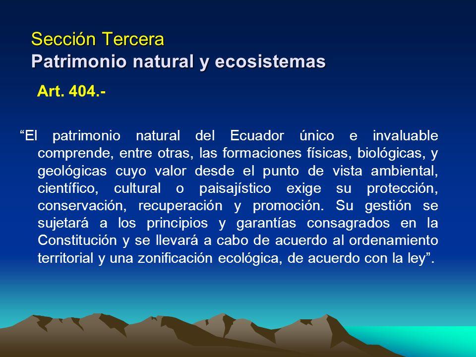 Sección Tercera Patrimonio natural y ecosistemas Art. 404.- El patrimonio natural del Ecuador único e invaluable comprende, entre otras, las formacion
