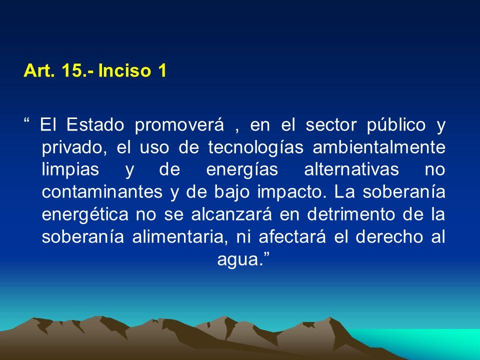 Art. 15.- Inciso 1 El Estado promoverá, en el sector público y privado, el uso de tecnologías ambientalmente limpias y de energías alternativas no con
