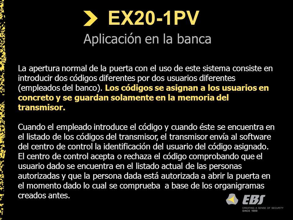 EX20-1PV Aplicación en la banca La apertura normal de la puerta con el uso de este sistema consiste en introducir dos códigos diferentes por dos usuarios diferentes (empleados del banco).