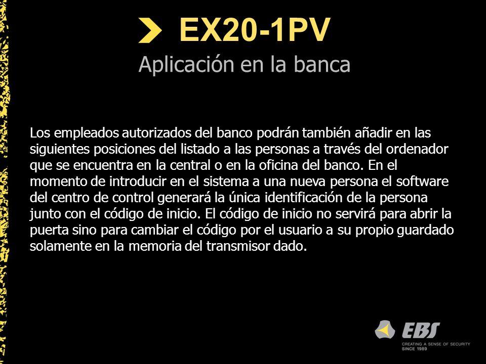 EX20-1PV Aplicación en la banca Los empleados autorizados del banco podrán también añadir en las siguientes posiciones del listado a las personas a través del ordenador que se encuentra en la central o en la oficina del banco.