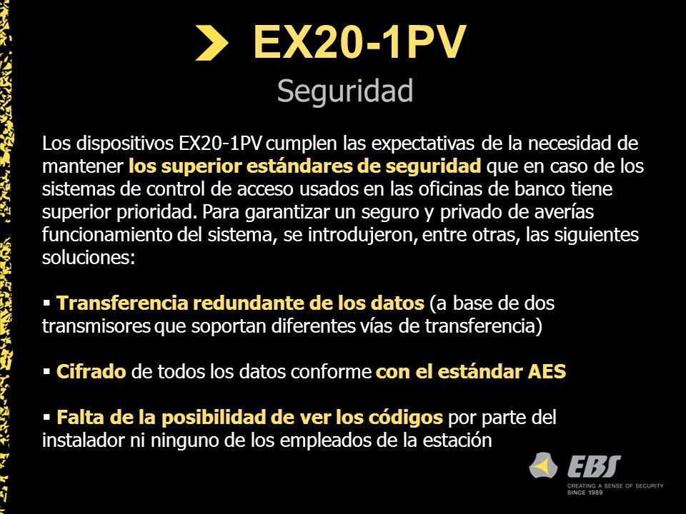 EX20-1PV Seguridad Los dispositivos EX20-1PV cumplen las expectativas de la necesidad de mantener los superior estándares de seguridad que en caso de los sistemas de control de acceso usados en las oficinas de banco tiene superior prioridad.